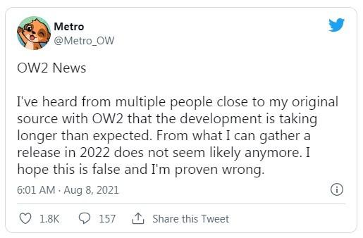知名爆料者称《守望先锋2》在2022年发售无望  第1张